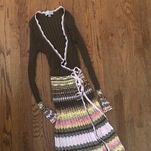 M Missoni zig zag wrap dress 44, US 8 brown pink